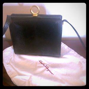 New Salvatore Ferragamo Black Embossed Leather Bag